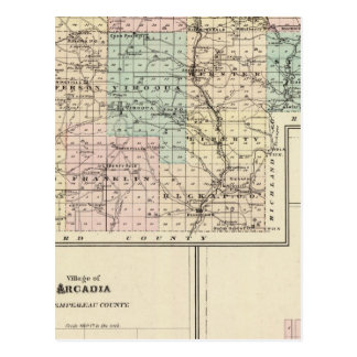 Vernon郡、アルカディアおよびViroquaの地図 ポストカード