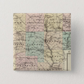 Vernon郡、アルカディアおよびViroquaの地図 5.1cm 正方形バッジ