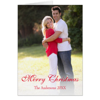 Vertical Photo Traditional Merry Christmas Card カード