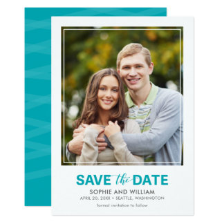 Vertical Turquoise Teal Save the Date Photo カード