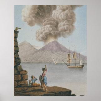 Vesuviusの噴火、月曜日第9威厳があるな1779年は、地図をつくります ポスター