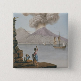Vesuviusの噴火、月曜日第9威厳があるな1779年は、地図をつくります 5.1cm 正方形バッジ