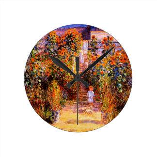 VétheuilのクロウドMonet-Monetの庭 ラウンド壁時計