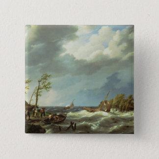 VIのリーの海岸でつかまえられるオランダの漁船 缶バッジ