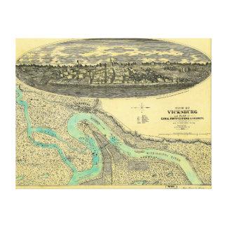 Vicksburgミシシッピー1863年の内戦時代の地図 キャンバスプリント