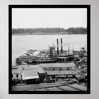 Vicksburg、MSの沖積堤および蒸気船1864年 ポスター