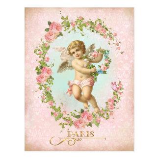 Victorian Angel Pink Rose Frame Postcard ポストカード