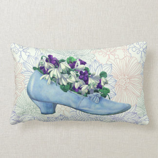 Victorian Blue Shoe Floral ランバークッション