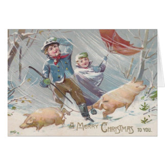 Victorian Children and Pigs Christmas Card カード