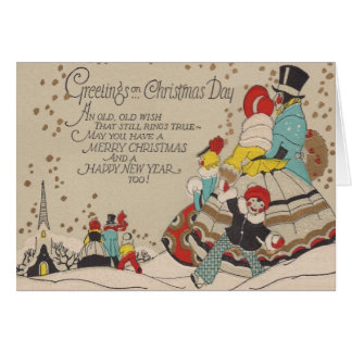 Victorian Christmas and New Year Greeting Card カード