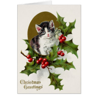 Victorian Kitten and Holly Christmas Greeting Card カード