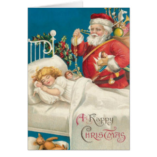 Victorian Santa and Sleeping Child Christmas Card カード