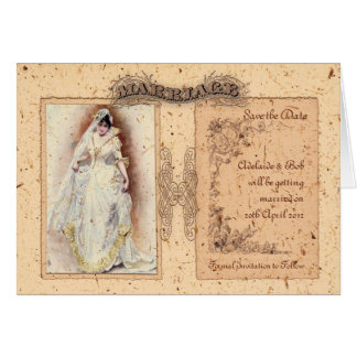 Victorianaのクリーム色の保存日付 カード
