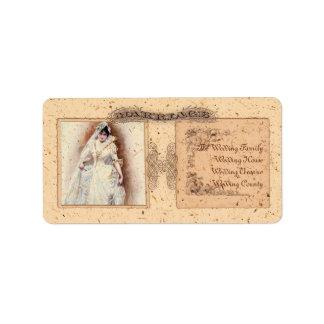 Victorianaのクリーム色の保存日付 ラベル