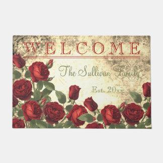 Viintageの赤いバラの歓迎されたモノグラム家族 ドアマット