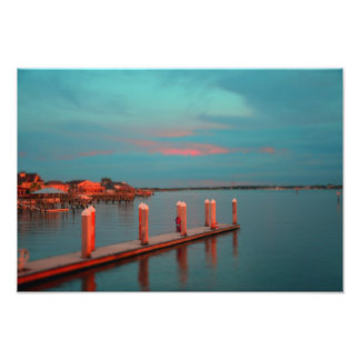 Vilanoのビーチ桟橋の日没 フォトプリント