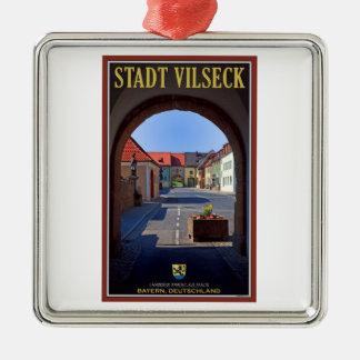Vilseck -タワーのゲートからの眺め シルバーカラー正方形オーナメント