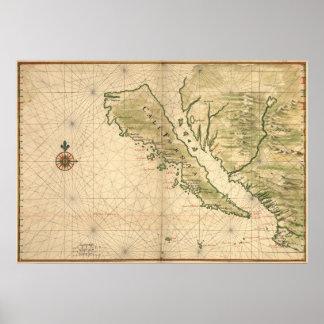 "Vingboons ""島""の(1650年の)重版としてカリフォルニア ポスター"