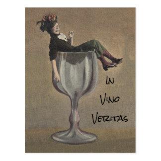 vinoのveritasでは-ワインの…、真実のかわいいおもしろいの郵便はがき ポストカード
