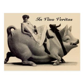 Vino Veritasのヴィンテージの郵便はがきの女性ワイン及びブタ ポストカード