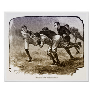 Vintage 1890's Rugby Archival Print ポスター