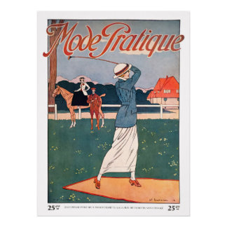 Vintage 1914 French Golf Print ポスター