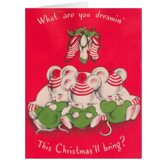 Vintage 3 Cute Mices Dreaming on Christmas Eve カード