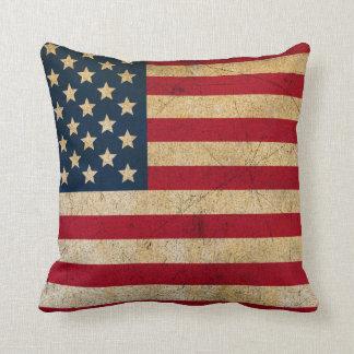Vintage American Flag Throw Pillow クッション