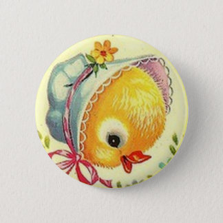 Vintage Baby Chick Easter Button Pin 5.7cm 丸型バッジ