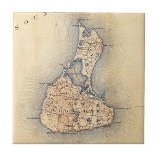 Vintage Block Island RI Map (1899) タイル