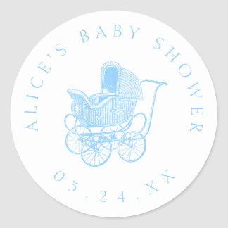 Vintage Blue Baby Carriage Baby Shower ラウンドシール