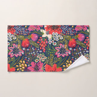 Vintage Bright Floral Pattern Fabric Hand Towel ハンドタオル