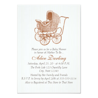 Vintage Brown Baby Carriage Baby Shower カード