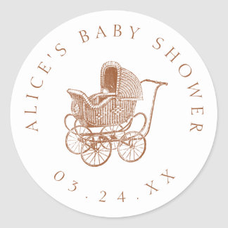 Vintage Brown Baby Carriage Baby Shower ラウンドシール
