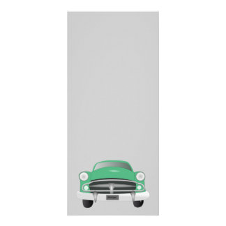 vintage_car_GREEN灰色の旧式車のグラフィック ラックカード