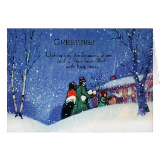 Vintage Christmas Greetings Holiday Cheer カード