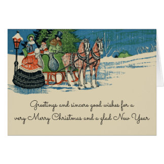 Vintage Christmas Sleigh Ride Old Fashioned カード