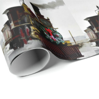 """Vintage Christmas Train Wrapping Paper, 30"""" x 6' ラッピングペーパー"""