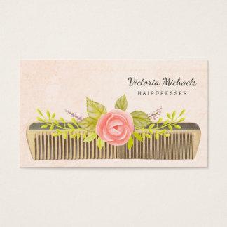 Vintage Comb and Roses For Elegant Hairdresser 名刺