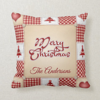 Vintage Country Christmas Patchwork Quilt Pillow クッション