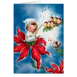 Vintage Cute Angel,Birdies singing ChristmasCarols カード