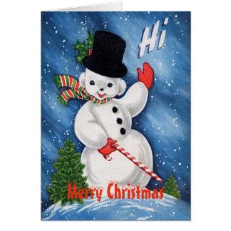 Vintage Cute Snowman Merry Christmas カード