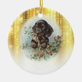 Vintage Dog Christmas Ornament セラミックオーナメント