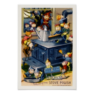 Vintage Elves & Stove Dixon's Stove Polish Ad copy ポスター