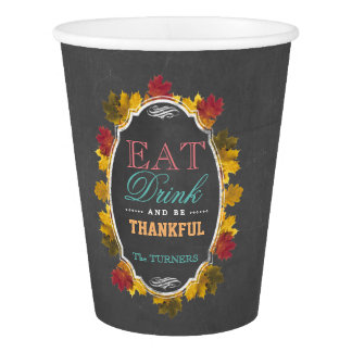 Vintage Fall Chalk EAT DRINK and be THANKFUL 紙コップ