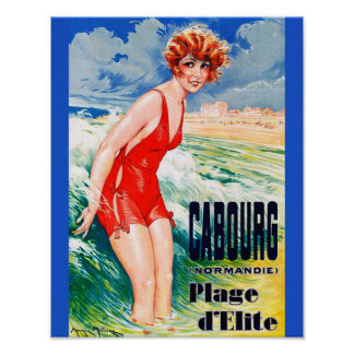 Vintage French Bathing Beauty circa 1925 Normandy ポスター
