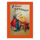 Vintage Girl With Pumpkin カード