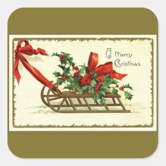 Vintage Golden Christmas Sleigh スクエアシール