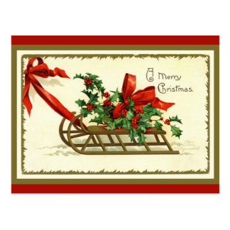 Vintage Golden Christmas Sleigh ポストカード