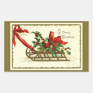 Vintage Golden Christmas Sleigh 長方形シール